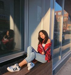 Windbreaker adidas sneakers ripped jeans tube top ootd outfit