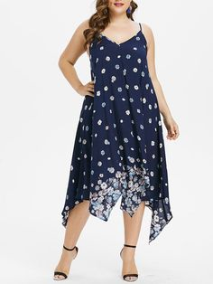 dcbb5c34403b2 V-Neck Asymmetric Hem Floral Plus Size Midi  amp  Maxi Dress  MaxiDress