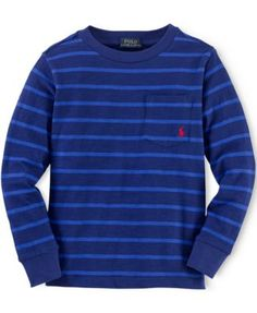 Ralph Lauren Little Boys' Jersey Striped Pocket Tee