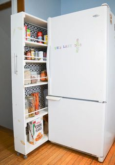 Small Space Storage Solution - How to Build your own Rolling Pantry in the Kitchen! Full TUTORIAL in this post!