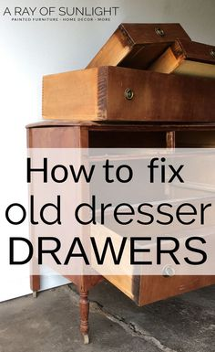 Traditional Home Decor Are your old dresser drawers hard to open? These quick tips will fix your sticky dresser drawers. Learn how to replace the bottom of a drawer, how to make old dresser drawers slide better, how to Furniture Repair, Diy Furniture Projects, Paint Furniture, Furniture Making, Furniture Makeover, Furniture Refinishing, Chair Makeover, Old Furniture Painted, How To Make Furniture