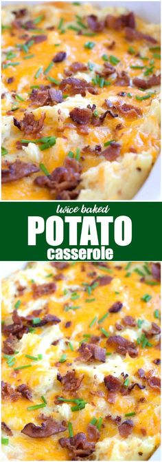 Twice Baked Potato Casserole - Easy, delicious comfort food your family will love! This is a lick your plate clean kind of recipe. Easy, delicious comfort food your family will love! This is a lick your plate clean kind of recipe. Best Twice Baked Potatoes, Twice Baked Potatoes Casserole, Potatoe Casserole Recipes, Potato Recipes, Dog Recipes, Potato Dishes, Beef Recipes, Egg Casserole, Zuchinni Casserole