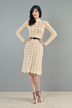 Hand Crocheted 1970s Plunging Neck Midi Dress | BUSTOWN MODERN