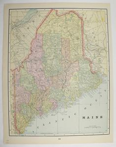 Antique Map Maine 1894 Vintage Travel Map, New England State Map, Vacation Map, 1st Anniversary Gift, Wall Map Art by OldMapsandPrints on Etsy