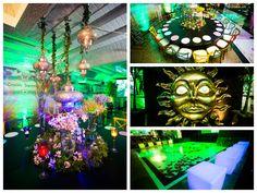 Decoração das mesas e do espaço da festa tema Tomorrowland
