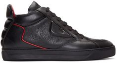 Mid-top grained leather sneakers in black. Buffed leather trim throughout. Round toe. Tonal lace-up closure. Logo embossed at padded tongue. Padded collar. Signature 'bag bug' appliqué at outer side and topstitched graphic at inner side. Padded quilted pull-tab at heel collar. Leather lining in red. Tonal rubber sole. Silver-tone hardware. Tonal stitching.