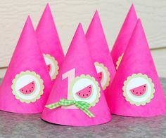 girls party hats   watermelon hats - Mary Had a Little Party