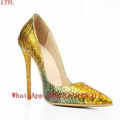8ecf933c3 Embossed Genuine Leather 12cm High Heels Ladies Designer Shoes Woman  Gradient Color Women Pumps Pointed Toe