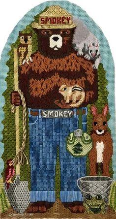 Stitched by SMITH Ellen - Devon Nicholson Smokey Bear SB-09jpg