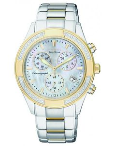 WATCH CITIZEN ECO DRIVE CHRONOGRAPH STAINLESS STEEL YELLOW GOLD PLATED DIAMOND SET CASE AND BRACELET ROUND MOTHER OF PEARL DIAL - Jons Family Jewellers