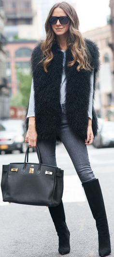 #fall #trending #outfits | Statement Vest + Denim