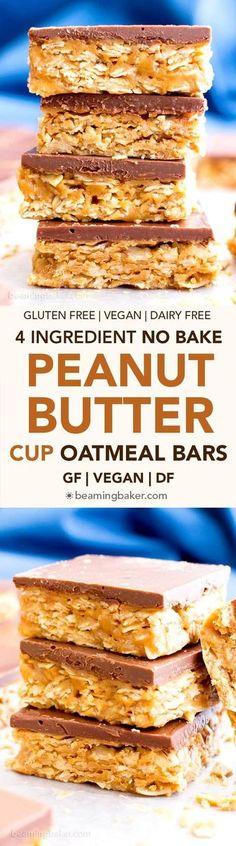 4 Ingredient No Bake Vegan Chocolate Peanut Butter Cup Granola Bars #GlutenFree #DairyFree  BeamingBaker.com