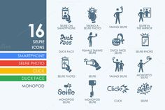 16 Selfie icons by Palau on Creative Market