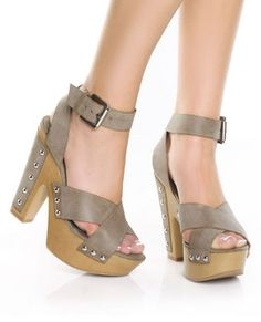 GoMax Jacqueline 01 Taupe Studded Platform Heels
