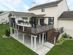 If you need some porch and deck inspiration, you're in the right place! See some of our favorite porch, patio, and deck projects — and request your quote! Deck Enclosures, Modern Deck, Decks And Porches, Porch And Patio, Backyard Patio Designs, Patio Ideas, Custom Decks, House Deck, Building A Deck