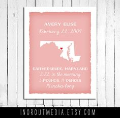Nursery Art - Love these Personalized state art print with name and birth details, and location of birth, choose any state.