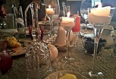 Lots of glassware for the Thanksgiving table.  http://robinsoncottagecollection.blogspot.com