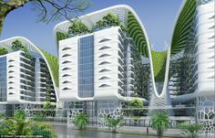 Gate Residence- the ultimate green-building in Cairo | wordlessTech - The ultimate green-building 'Gate Residence' futuristic billion-pound complex in Cairo, fitted with solar panels, wind turbines and more.