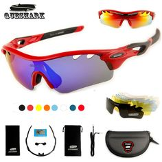 Queshark TR90 UV400 5 Lens Polarized Cycling Glasses Bike Goggles Outdoor  Sports Bicycle Sunglasses Hiking Riding ffe76bf96940