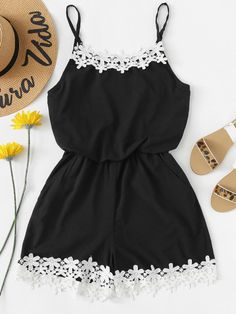 Shop Guipure Lace Trim Cami Jumpsuit at ROMWE, discover more fashion styles online. Cute Comfy Outfits, Cute Girl Outfits, Cute Summer Outfits, Pretty Outfits, Stylish Outfits, Cool Outfits, Girls Fashion Clothes, Teenage Girl Outfits, Summer Fashion Outfits