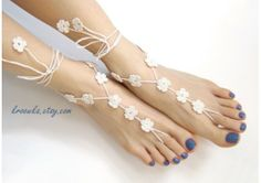 Barefoot Sandals WHITE FLOWER, Valentine's Day gift, beach wedding accessory, nude shoes - TheWeddingMile.com