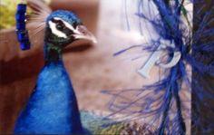 https://flic.kr/p/8bzo3i | ATC-Peacock | Original photo background, royal blue jewels, black jewel, royal blue fiber, metal P