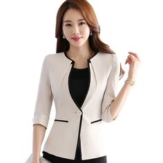 Cheap jacket outwear, Buy Quality jacket casual directly from China jacket velvet Suppliers:         2015 Fashion women's suit jacket laciness patchwork slim striped blazer female summer three quarter sleeve