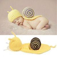 2014 amarillo Caracol Niño Niño Niña Bebé Beanie Disfraz de animal Sombreros Gorras Sets toman la foto Fotografía Atrezzo punto de ganchillo 96235-6