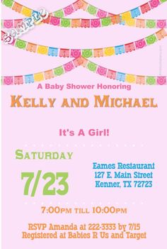 Fiesta Bunting Papel Picado Baby Shower Invitations - Get these invitations RIGHT NOW. Design yourself online, download and print IMMEDIATELY! Or choose my printing services. No software download is required. Free to try!