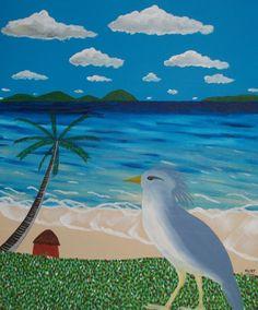 le cagou (Painting),  50x60 cm par Didier Dordeins peinture acrylique carton entoilé 60x50 cm finitions vernis pièce unique signé