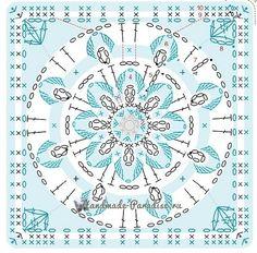 Мотив №2. Квадраты из голубой, синей и желтой пряжи