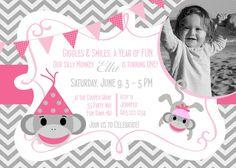 Sock Monkey First Birthday Party Invitation Printable - Sock Monkey Birthday Invite Chevron Pink Gray - Sock Monkey Chevron - Photo on Etsy, $14.00