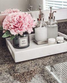 Bathroom Inspiration, Home Decor Inspiration, Bathroom Counter Decor, Bathroom Ideas, Bathroom Remodeling, Bathroom Tray, Bathroom Storage, Girl Bathroom Decor, Small Bathroom