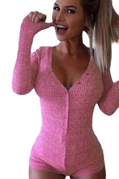 Pink V-neck Long Sleeves Button Bodysuit