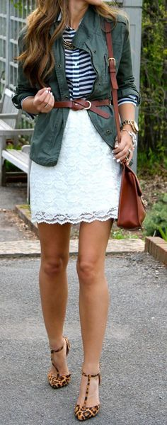 Fashion trends | Striped shirt, white lace skirt, belted green jacket and animal prints pumps