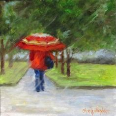 Walking in the Rain II  Original Oil Painting  by ChatterBoxArt