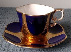 Vintage ~ Aynsley Bone China ~ TEA CUP and SAUCER ~ Cobalt Blue, Gold, and White  | eBay
