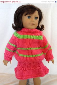 Sweater and Skirt Set Hot Pink Lime Green by PreciousBowtique, $11.25