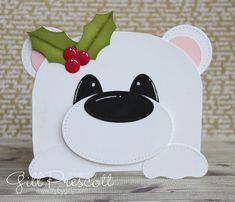 Polar bear punch art card for challenge Christmas Punch, Kids Christmas, Handmade Christmas, Christmas Cards, First Birthday Decorations Boy, Kids Punch, Polar Bear Christmas, Punch Art Cards, Bear Card