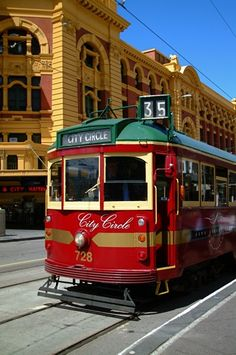 Melbourne's free city circle tram outside of Flinders Street Station