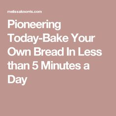 Pioneering Today-Bake Your Own Bread In Less than 5 Minutes a Day