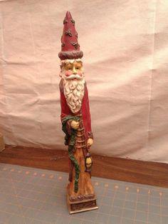 """Vintage Christmas Old World Santa Tall Skinny Figurine 16"""" Tall"""