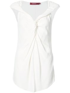 Brand Style: MRIWASHED White virgin wool blend plunge neck twist top from SIES MARJAN. Dimensions: model is in and wearing a size Composition: viscose, virgin wool Care: dry clean only Final Sale Karen Page, Crepe Top, White Shop, Fashion Branding, Wool Blend, Women Wear, Model, How To Wear, Fashion Design
