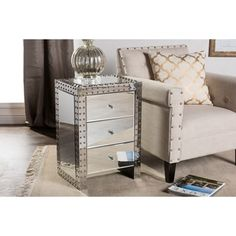 Gold Coast Park Lane Mirrored End Table In Black, Gold, or Silver   Overstock.com Shopping - The Best Deals on Coffee, Sofa & End Tables