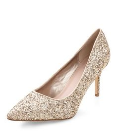 Gold Glitter Pointed Heels