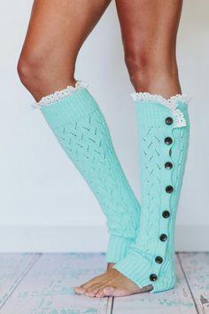 Mint Lacy Knitted Button Down Leg Warmers Aqua Crochet Trim Boot Socks in Tiffany Blue LegWarmers from three bird nest. Looks Style, Looks Cool, Style Me, Look Fashion, Winter Fashion, Womens Fashion, Fashion Models, Girl Fashion, Cheap Fashion