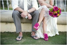 Cabo San Lucas, Mexico Wedding // Tanis Katie Photography // Bride and Groom // Weddings shoes // Pink wedding shoes // Bride and Groom feet // Colourful wedding bouquet