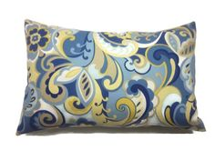 Decorative Pillow Cover Paisley Design Lumbar by LynnesThisandThat