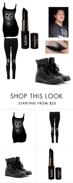 """first date with Zak Bagans"" by yeagercassandra ❤ liked on Polyvore featuring Boohoo, Converse, ZAK and NYX"