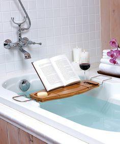 Bathtub Caddy, for reading, drinking, and bathing dotandbo.com #relax #treatyourself